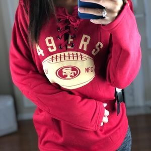 San Francisco 49ers Lace Up Jersey Style Sweater